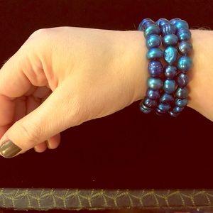 Set of 3 Blue Cultured Pearl Stretch Bracelets